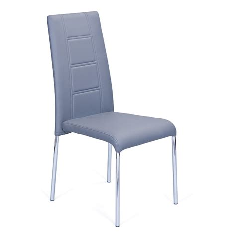 romania dining chair in grey faux leather with chrome legs