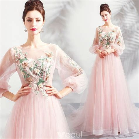 Flower Fairy Pearl Pink See-through Evening Dresses 2018 A ...