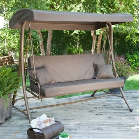 siesta 3 person canopy swing bed chocolate traditional gliders by hayneedle