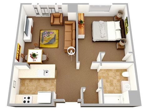 1 Bedroom Apartmenthouse Plans  Home Decorating Guru