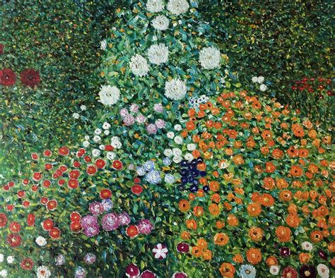 gustav klimt flower garden painted painting on