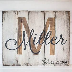 Last name with est date rustic wooden sign made from for Letter name signs