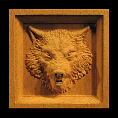 block wolf head carved wood