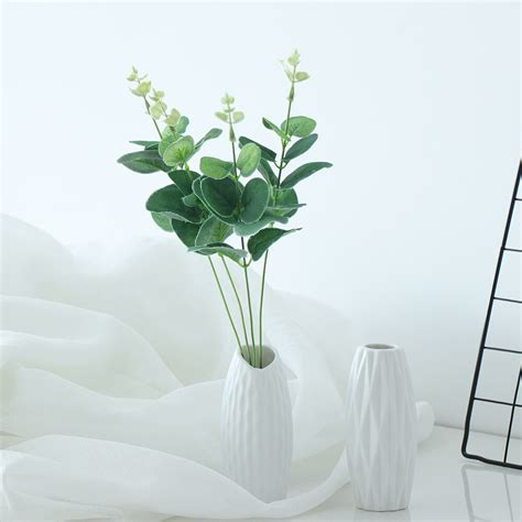 Effortless to manage, our artificial plants for decoration are maintenance free and will liven up your home, kitchen or bathroom. Green Artificial Leaves Large Eucalyptus Leaf Plants Wall ...