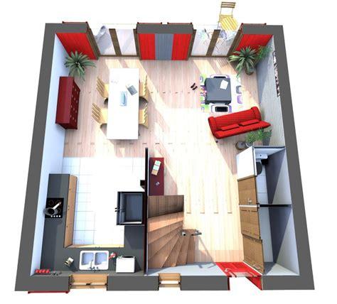 plan de cuisine en bois maisons en bois modèle cubik 01 vue en hauteur du rez de