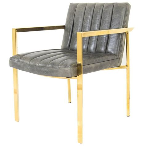 arm tufted dining chair in distressed leather for
