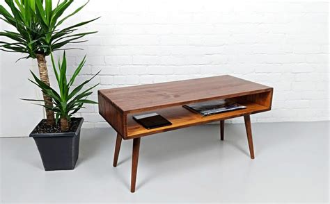 A wooden mid century modern coffee table has a warm nostalgic appearance, and this half spherical shaped example in reclaimed mid century weathered round coffee table: Mid Century Modern Retro Coffee Table | Mid Century Table on Solid Oak Legs - Woodify Canada