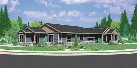 Single Level Home Designs by Single Story Duplex House Plan Corner Lot Duplex House