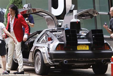 russell brand car russell brand will drive doc brown s delorean in arthur