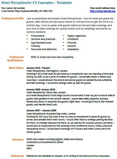 Hotel Receptionist Resume Description by Hotel Receptionist Cv Exle Learnist Org