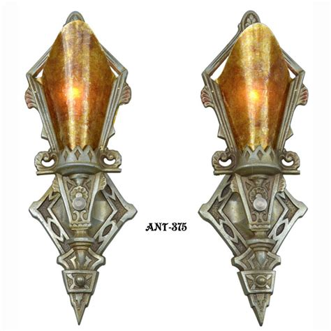 pair of antique restored deco wall sconces lights