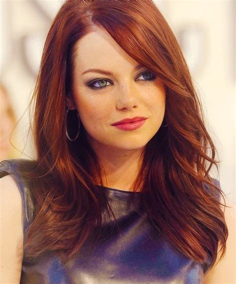 Emma Stone's Long Hairstyles: Red Straight Hair - PoPular