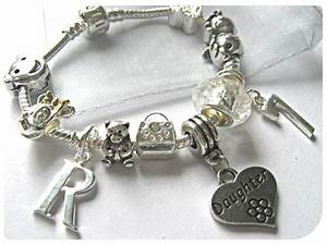childrens girls 7quot daughter initial letter age silver With charm bracelet letters initials