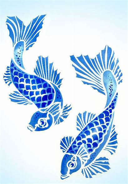 Koi Carp Stencil Fish Stencils Drawing Japanese