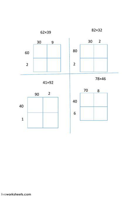 grade area model multiplication worksheets times