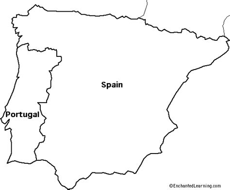 Outline Map: Spain and Portugal - EnchantedLearning.com