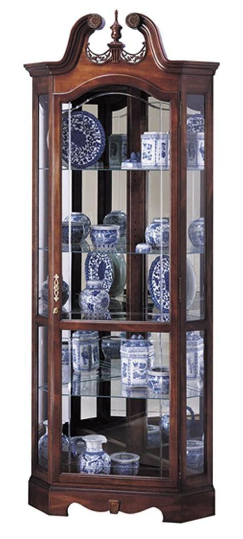 curio hutch cherry corner curio cabinet beveled glass interior