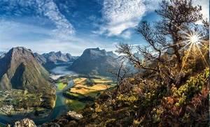 Cityscape, Sun, Rays, Valley, Trees, Mountain, River, Field