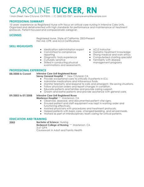 Registered Professional Summary by 24 Amazing Resume Exles Livecareer