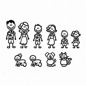 Hawaii Fashion Stick Figure Family Car Stickers Cartoon
