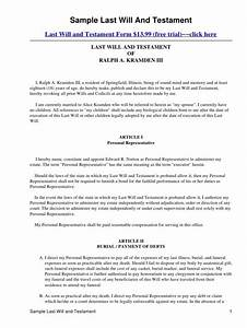 printable sample last will and testament template form With joint will template free