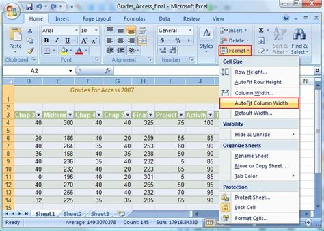 excel microsoft tab editing cells format ms 2007 column learningcomputer computer drop