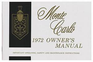 Owners Manual  1972 Monte Carlo