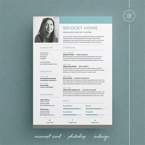 bridget resume cv template word photoshop indesign