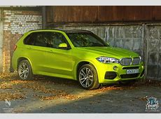 BMW F15 X5 Wrapped in Electric Lime Vinyl in Russia