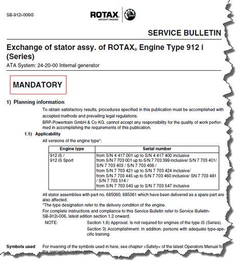 cannondale mandatory service bulletins rotax sb 912i 006 sb 912i 006is mandatory exchange of