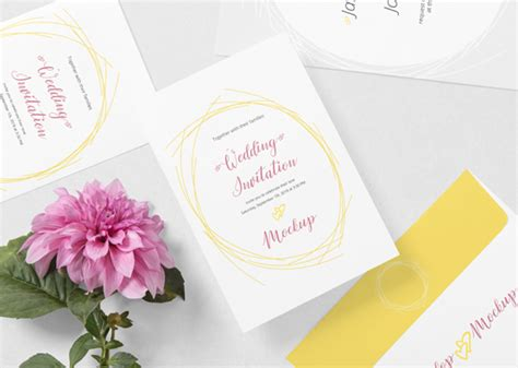 With that in mind, you know that editing the template will a beautiful invitation mockup featuring a minimalist setting that includes the card, a white desktop and a cactus. Free Wedding Card Mockup PSD | ZippyPixels