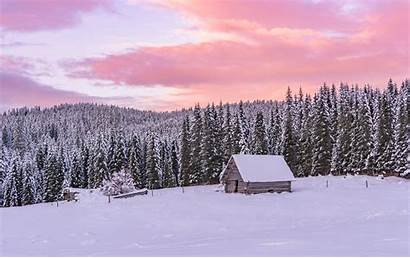 Forest Winter Sunset Cottages Wooden Cottage Dreamypixel