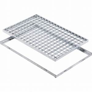 grille caillebotis et cadre acier galvanise l59 x l59 cm With tapis grattant grille métallique