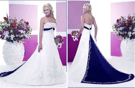 Navy Blue And White Wedding Dresses Photo