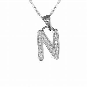 girls initial letter n necklace cubic zirconia sterling With letter n necklace