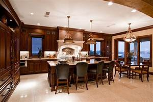 luxury kitchen and dining room design with elegant With kitchen and dining room lighting ideas