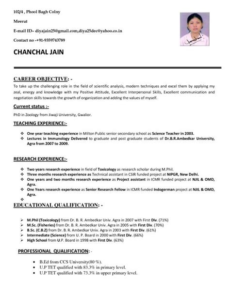 Resume Format For Post by Resume For Teachers Application In India Resume Format