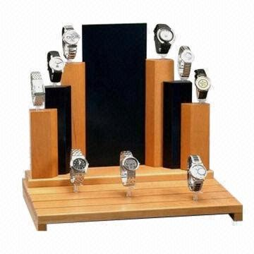 Watch display stand, made of wood, plastics and resins