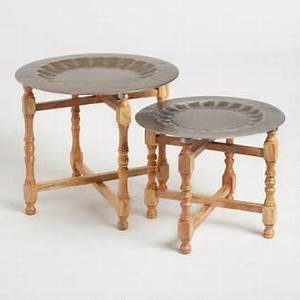 coffee tables end tables accent tables world market With wood and metal multi level coffee table