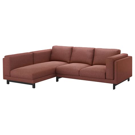 chaise en paille ikea nockeby two seat sofa w chaise longue left tallmyra rust wood ikea