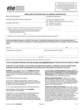 fillable miis de4 california tax withholding form miis fax email print pdffiller