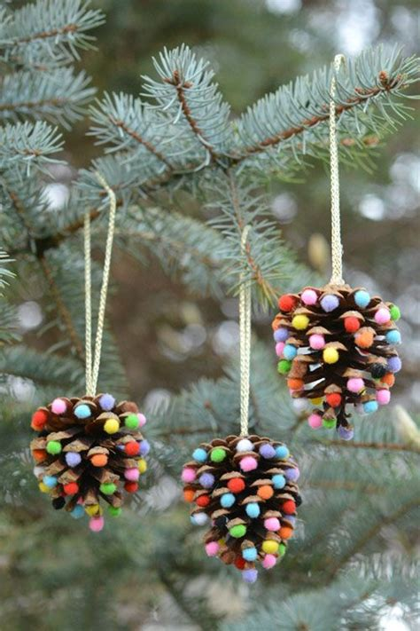 Pom Poms and Pinecones Christmas Ornaments   Pinecone