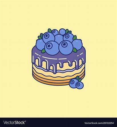 Cake Chocolate Blueberries Syrup Vectorstock Blueberry