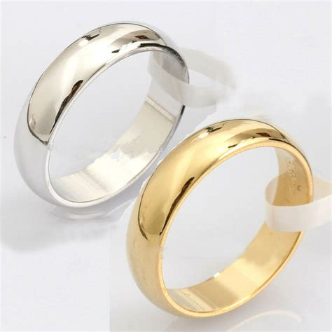 sale new fashion plain silver gold stainless steel ring engagement wedding band ebay