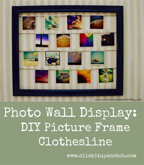 how to display photo wall display diy picture frame clothesline