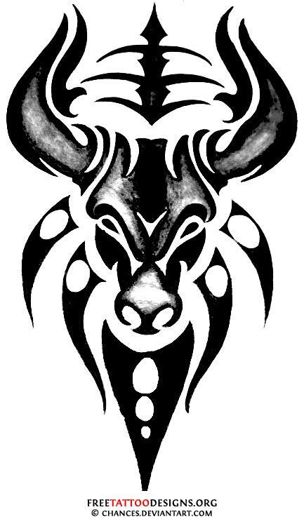 Tribal bull tattoo design | Tattoos | Pinterest | Tatouage, Dessin tatouage et Tatouage dragon