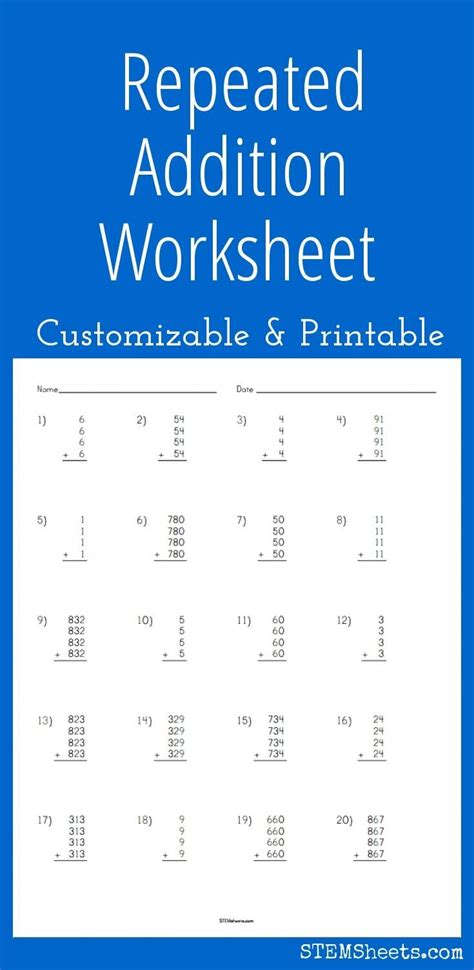 repeated addition worksheets pdf matching
