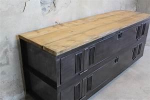 Meuble Acier Bois : meuble tv 180p loft industeel ~ Teatrodelosmanantiales.com Idées de Décoration