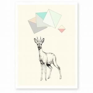 affiche chevreuil en tres beau papier a grain fine art With affiche chambre bébé avec offrir fleurs a distance