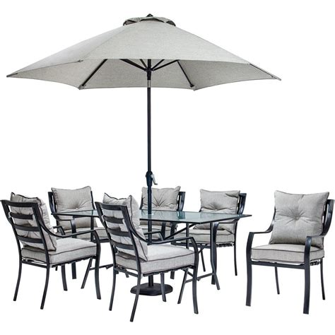hanover lavallette 7 piece glass top rectangular patio